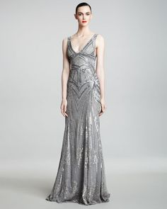 monique lhuillier art deco embroidered gown see more of the 1920s wedding trend art deco inspired pinterest