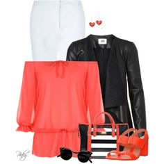 Black & White & Coral by pinkystyle on Polyvore featuring polyvore, fashion, style, WearAll, Hobbs, Office, Fornarina, La Preciosa, clothing and white