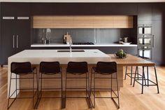 Modern white kitchen designs with timber kitchen modern with white benchtop stone benchtop White Wood Kitchens, Timber Kitchen, New Kitchen, Cool Kitchens, Kitchen Ideas, Modern Kitchens, Kitchen Decor, Kitchen Black, Awesome Kitchen
