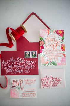 Watercolor Blossoms - Painted Wedding Invitations + Calligraphy - Pink + Red - Customizable.