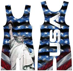 Blue USA sublimated wrestling singlet: Youth Boys Kids Men ALL Sizes, by 4Time