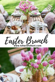 Rose gold brunch tablescape is perfect for spring or your Easter celebrations Easter Brunch Menu, Brunch Buffet, 40th Bday Ideas, Got Party, Easter Table Settings, Beautiful Table Settings, Easter Celebration, Party Entertainment, Tablescapes