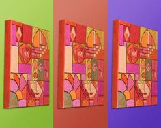Red and Orange Art Deco Floral Feminine Abstract (Painting No.