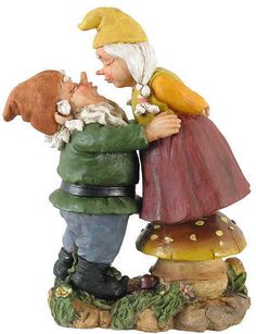 A devoted Norwegian Gnome wife wouldn't be caught dead at the Cemetery with any sneeze debris on her face so before any kissing takes place, she has her 'true delight'  life-flight her to a toad stool where she inspects his notrils for any pollen caught in his nose hairs.