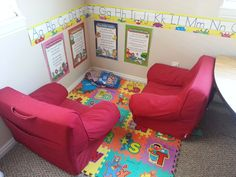 I did this layout with different colored chairs and the kids loved it! Awesome home daycare
