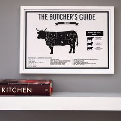 Butcher's Beef Cow Meat Cuts Infographic Print by coconutgrass