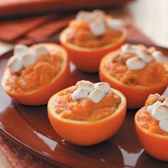 Sweet Potato Orange Cups Recipe from Taste of Home. -- A refreshingly sweet side dish submitted by Melonie Bowers of Sugarcreek, Ohio.