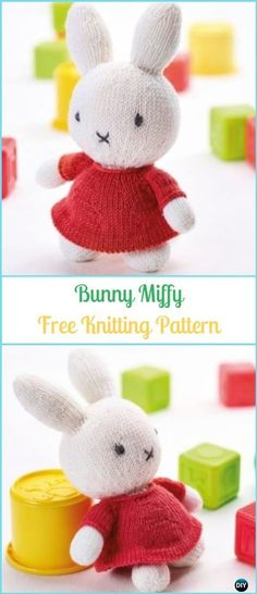 Amigurumi Bunny Miffy Free Knitting Pattern – Amigurumi Knit Bunny Toy Softies F… Modèle de tricot gratuit Amigurumi Bunny Miffy – Amigurumi Knit Bunny Toy Softies Free Patterns Knitted Bunnies, Knitted Animals, Knitted Dolls, Animal Knitting Patterns, Crochet Toys Patterns, Stuffed Toys Patterns, Crochet Ideas, Softies, Crochet Baby Toys