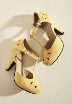 Vintage Style Shoes, Vintage Inspired Shoes The Zest Is History Heel in Goldenrod in 7 $44.99 AT vintagedancer.com