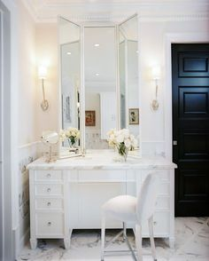Master bathroom design with Visual Comfort Lighting Ruhlmann Single Sconce flanking white folding mirror over marble top makeup vanity paired with white vanity chair. Bad Inspiration, Bathroom Inspiration, Mirror Inspiration, My New Room, My Room, Home Design, Design Ideas, White Vanity, Small Vanity