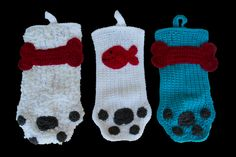 Crocheted Dog Paw or Cat Paw Christmas Stocking by SutakuBoutique on Etsy Christmas Colour Schemes, Christmas Colors, Cat Paws, Primary Colors, Christmas Stockings, Crocheting, Color Schemes, Knit Crochet, Dog