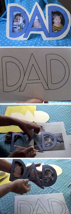 Want a fun way to amuse the kids and have a present at the end of it ? Then try these cute fathers day crafts for kids. Some will require a lot of adult help Diy Father's Day Crafts, Father's Day Diy, Baby Crafts, Toddler Crafts, Holiday Crafts, Fathers Day Art, Fathers Day Presents, Happy Fathers Day, Daycare Crafts