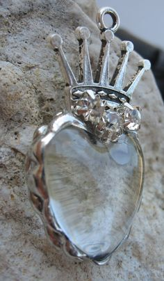 Soldered Glass Rhinestone Heart Crown Pendant by Nanettemc