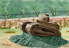 Ancienne usine Renault de Billancourt (Paris) le char FT 17 de 1917- 1918