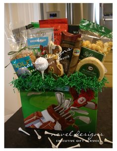 Custom Tee Time Golf Th,:(=[=[=eme Gift Basket -uncle larry Theme Baskets, Food Gift Baskets, Themed Gift Baskets, Raffle Baskets, Golf Theme, Auction Baskets, Diy Gifts For Boyfriend, Golf Gifts, Gift Hampers