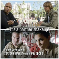 Sam & Deeks LOL.  G is cool with everyone, but I think Sam scares Deeks a little!