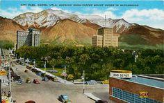 Vintage City Postcards   ... Utah UT 1940s New Bus Depot City Park Mount Ogden Vintage Postcard