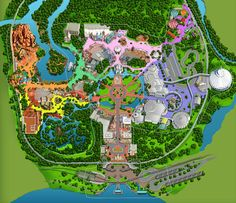 Illustrated map of well know theme park in Orlando, FL. by artist Brennen McElhaney   http://bmc.me/art/illustrated-map/