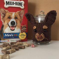 Dog Treat Jar - Dog Treat Container - Dog Treat Holder - Dog Treat Canister - Chihuahua Gift - Dog Lover Gift - Dog Decor - Hooked by Angel by HookedbyAngel