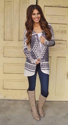 Dottie Couture Boutique - Open Cardigan- Aztec Print, $42.00 (http://www.dottiecouture.com/open-cardigan-aztec-print/)