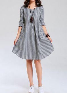 women Cotton Dress linen dress shirt dress by cottondress23