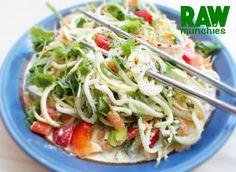 Vegan Zoodle Recipes, Thai Basil Recipes, Raw Vegan Recipes, Vegetarian Recipes, Healthy Recipes, Spiral Noodles, Vegan Pad Thai, Tahini Recipe, Vegan Pasta