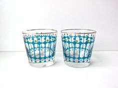 Vintage Atomic Rocks Glasses Barware By Libby Turquoise And Gold