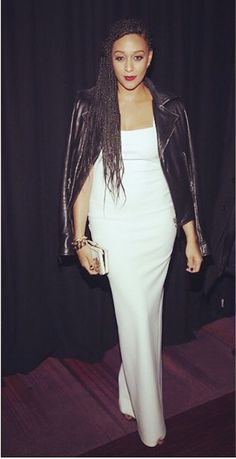 Tough! Tia Mowry gave etheral rocker chic in a white floor length dress and a Balenciaga leather jacket. Gorge!