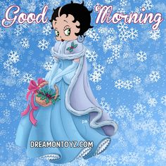 Good Morning - Betty Boop Christmas & Winter Graphics & Greetings GO TO ➡ http://boopchristmas.blogspot.com/  Beautiful #BettyBoop with a basket of holly on a snowy background #happyholidays
