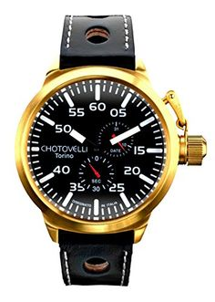 Chotovelli 7900-8 Big Pilot Watch with Black Dial 24h Display and Black Leather Strap 52mm
