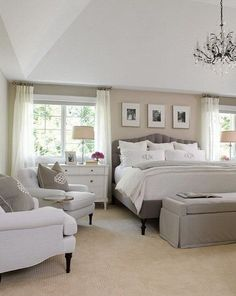White, gray and beige master bedroom. Neutral bedroom interior design idea. #GOALS