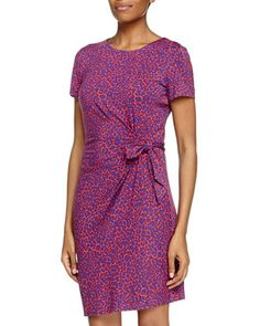 Zoe Ruched Waist Jersey Dress, Leopard Camo/Red by Diane von Furstenberg at Neiman Marcus Last Call.