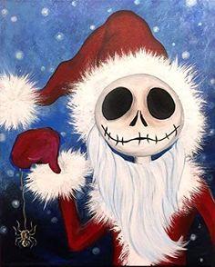 Nightmare Before Christmas Wallpaper, Nightmare Before Christmas Tattoo, Merry Christmas, Christmas Crafts, Arte Tim Burton, Jack Skellington Santa, Jack The Pumpkin King, Rhinestone Art, Halloween Painting