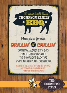 Back Yard BBQ Party Invitation - Pig Roast - Memorial Day - July - Labor Day - Adult Birthday Party - Rehearsal Dinner - Item 0113 Birthday Bbq, Adult Birthday Party, Grillin And Chillin, Pig Roast, Backyard Bbq, Wedding Backyard, Bbq Party, Summer Bbq, Rehearsal Dinners
