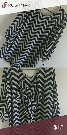 Women Plus Size Blouse Black and White striped shirt with bow on back Tops Blouses