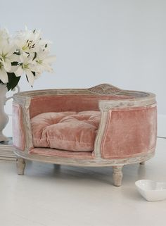 The French Bedroom Company Interiors Blog | Cosy Pink for Autumn in your home. Get ideas for blush pink home accessories, walls and velvet sofa. Top tips on pink and gold, pink and dark blue and sheepskins. Pink velvet dog bed, Posh Pooch Pet Bed - the ultimate in luxury pet accessories for your small dog or cat. French louis style with white wooden floor