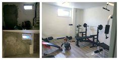 Fra slitent #rom i #kjeller til #treningsrom. #Murpuss utført av bedrift via Mittanbud.no.