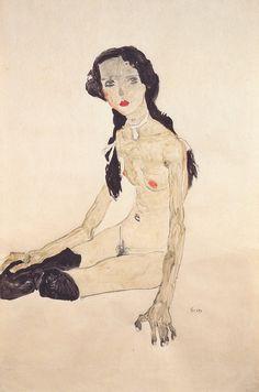 File:Egon Schiele - Sitzendes Mädchen mit Pferdeschwanz - 1910.jpeg