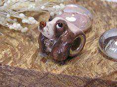 English Springer Spaniel Jewelled Collar Pandora Polymer Clay Dog Bead by Nancy Richardson.