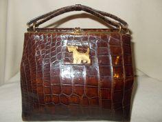 darling 1930's crocodile handbag with scottie dog