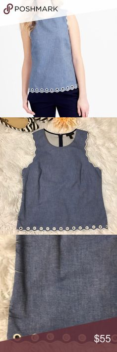I just added this listing on Poshmark: J.Crew Chambray Scalloped Top with Grommets. Scallop Top, Fashion Tips, Fashion Design, Fashion Trends, Chambray, J Crew, Foundation, Stylists, Blue And White