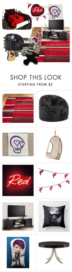 """""""My Room"""" by tiarose99 ❤ liked on Polyvore featuring interior, interiors, interior design, home, home decor, interior decorating, Hot Topic, Comfort Research, Seletti and Pottery Barn"""