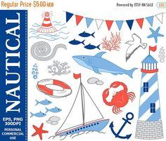 70% OFF SALE Nautical Clip Art  Boat Lighthouse Shark