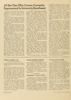 """The Ohio Alumnus, January 1951. """"All but one of Ohio's 88 counties are represented among the 5,261 students enrolled... Only Putnam County is not represented."""" :: Ohio University Archives"""