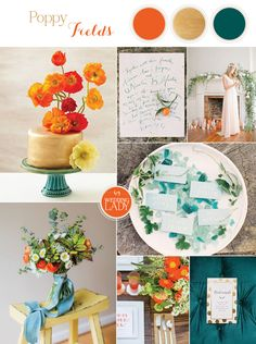 Autumn Poppy Wedding Inspiration in Matte Gold, Teal, and Orange #Wedding