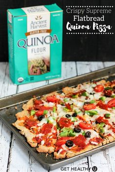 This crispy supreme flatbread quinoa pizza is gluten-free with a tasty cracker like crust that you can top with any fresh toppings! This healthy recipe makes an amazing appetizer, lunch or dinner and we love adding extra veggies to ours.
