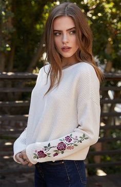 Embroidered Ribbed Pullover Sweater