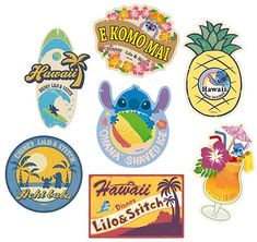 "seraphica: "" Disney Travel Stickers [via] "" ∞ Diy Stickers, Printable Stickers, Planner Stickers, Disney Scrapbook Pages, Scrapbook Stickers, Disney Stitch, Lilo And Stitch, Disney Crafts, Disney Art"
