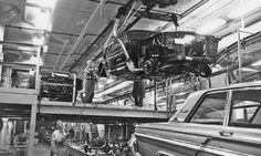 Ford Mustang assembly line shared with Ford Fairlane dated 1964
