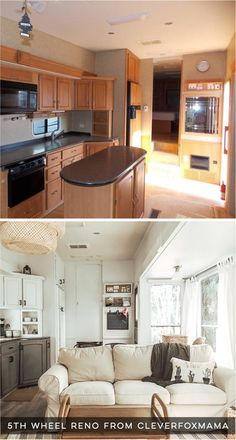 Tour this tiny home that feels more like a cozy cottage than a camper! Photos from CleverFoxMama (In Camper Renovation, Home Renovation, Rv Living, Tiny Living, Mobile Living, Living Room, Rv Interior, Interior Design, Rv Redo